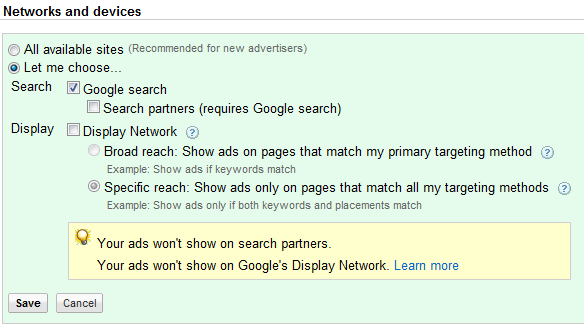 google adwords settings you want to change